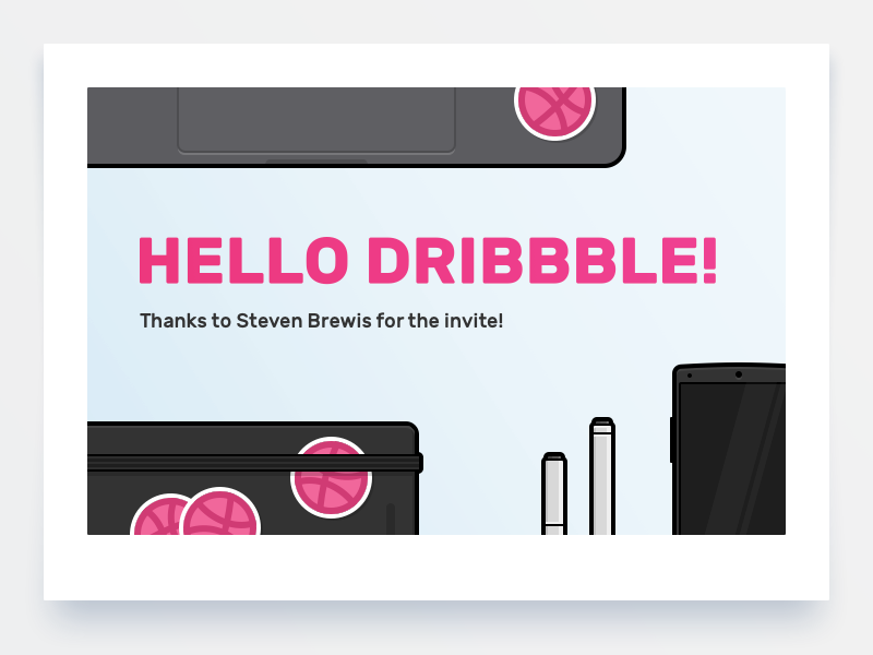 Hello Dribbble! first shot illustration smartphone stickers notebook macbook invite dribbble hello