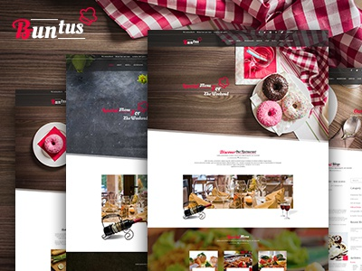 Buntus - food & restaurent PSD template club cafe business web template psd hotel restaurent food