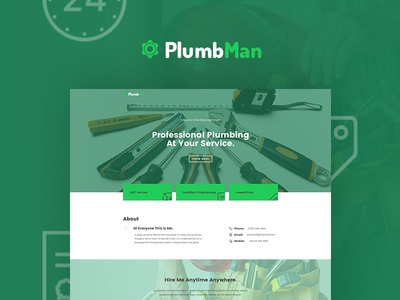 PlumbMan onepage portfolio design website repair plumber