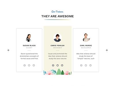 Our Trainers photoshop slider testimonials illustration artistic creative web design