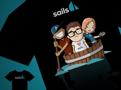Sails Shirt 01 balderdash balderdashy sails sails.js bucket shirt design promotion heather white mike mcneil blue black
