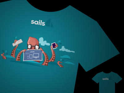 Sails Shirt 02 balderdash balderdashy sails sails.js bucket shirt design promotion heather white mike mcneil blue black