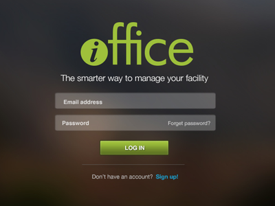iOffice login Page balderdash balderdashy balderdash design design login form green website web input button