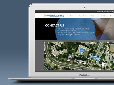 Headspring Contact Page balderdash headspring contact page map website header subheader blue black mac