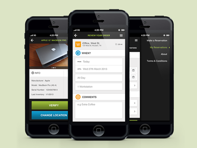 iOffice mobile app mockups balderdash ioffice green mobile web app form navigation buttons