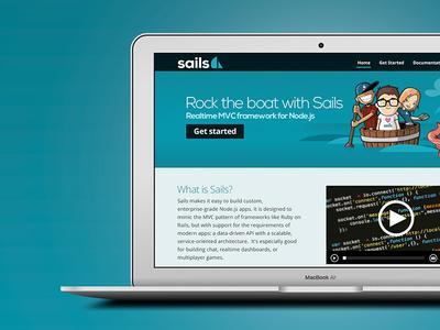 Sails Landing Page balderdash sails website desktop laptop preview landing page blue