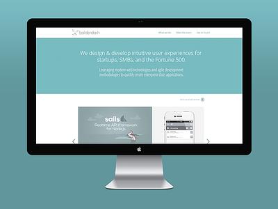 New website teaser balderdash rabbit website desktop blue portfolio homepage monitor