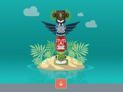 Internal Project - sneak peak balderdash website header totem pole turquoise island landing page preview
