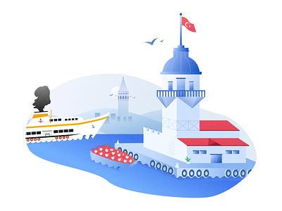 Maiden's Tower Illustration silhouette silhoutte blue sea istanbul minimal draw illustration design illustration daily inspiration vapur steamboat galata tower