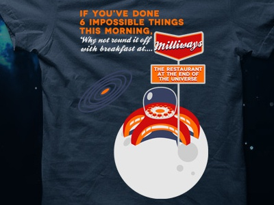 the restaurant at the end of the universe tshirt