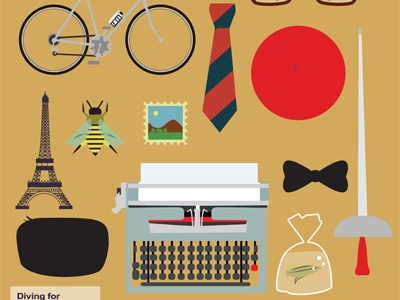 Bravo, Max! vector icons typewriter cycle eiffeltower bee stamp fish wes anderson movie objects retro