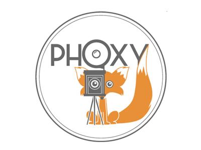 Logo Phoxy photo fox logo animal photographer zoom light tripod orange portrait family