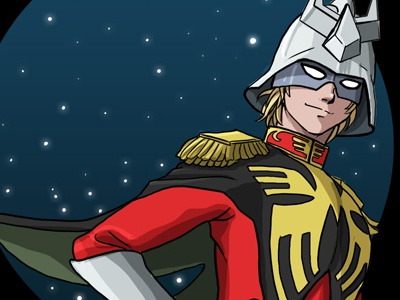 Char Aznable - Illustration digital paint illustrator 80s gundam anime charaznable