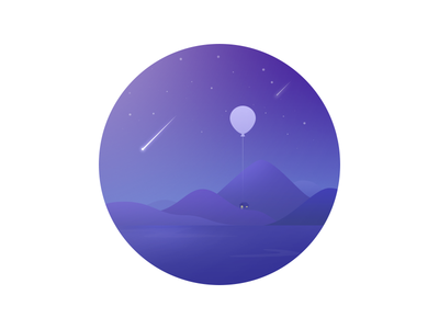 Night landscape skecth dream house valley air lost balloon meteor star night