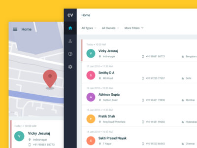 ☝🏼 First Dribbble Shot crm clean list view mobile web sidebar ux ui map material design card layout dashboard
