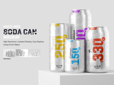 Multisize Soda / Beer Can Mockup multisize can beer soda can soda logo 3d graphic mock up presentation design mock-up mock-ups mockups mockup