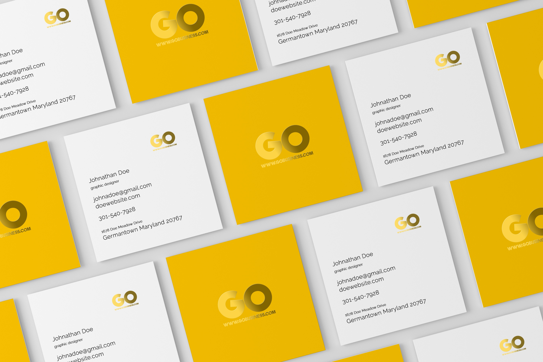 06 square business card mockup