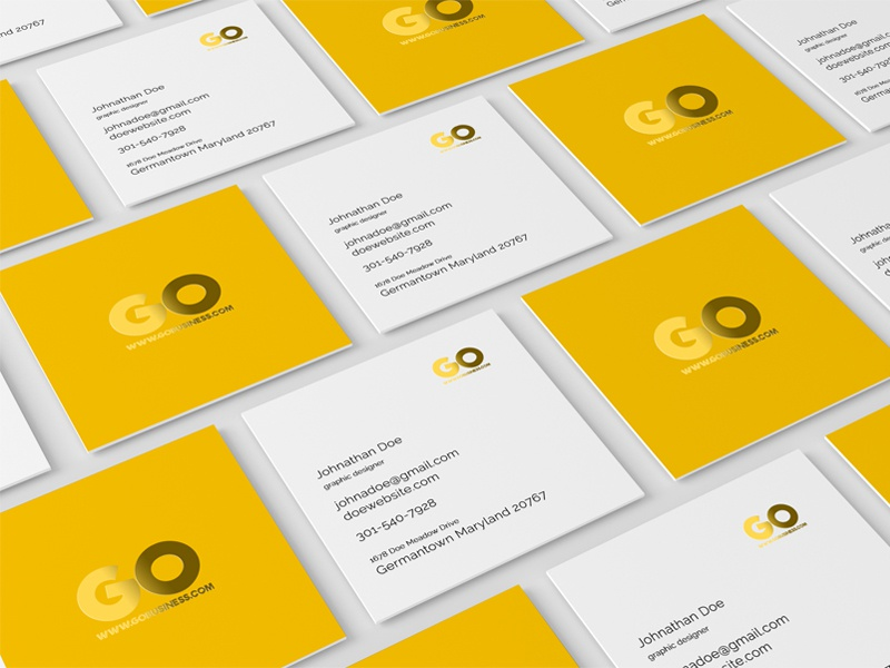 Square Business Card Mockup by ToaSin Studio - Dribbble