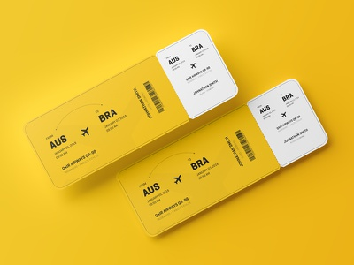 Round Corner Event Ticket Mockup airline 2x5.5 5.5x2 graphic presentation yellow design mockup ticket event corner round