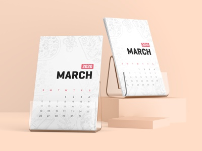Desk Calendar With Plastic Stand Mockup desk calendar pirnt stationary desk 2020 calendar illustration 3d graphic mock up presentation design mock-ups mock-up mockups mockup