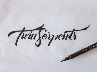 Twin Serpents –logo sketch #1 script calligraphy typography lettering handwritten sketch