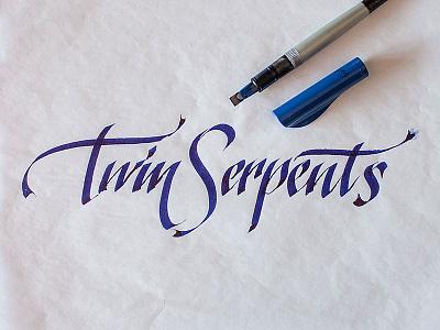 Twin Serpents –logo sketch #3 script calligraphy typography lettering handwritten sketch