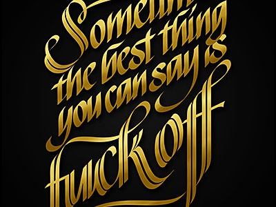 Ugly words to admire – poster exhibition calligraphy typography poster fuck off