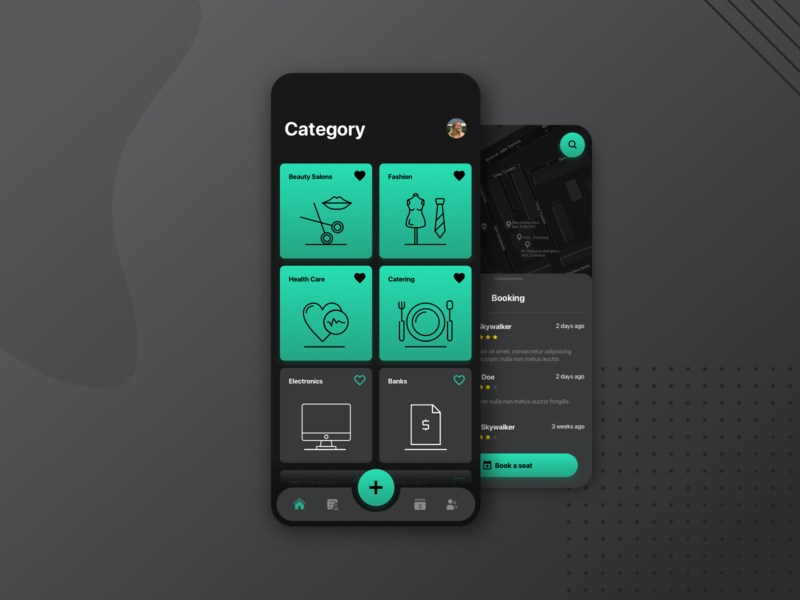 Reservation App - Dark dark theme dark ui green reservation booking web design design application ios android mobile interface app ux ui