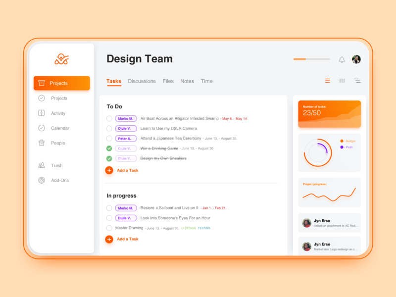 ActiveCollab Redesign Concept #2 productivity product project management dashboad web design web design application interface app ux ui