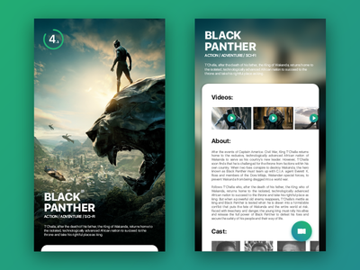 Cinema App black panther application cards android ios movies interface ux ui mobile app cinema