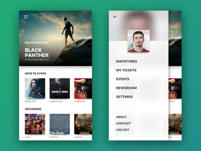 Cinema App 2 black panther ux ui movies mobile ios interface cinema cards application app android