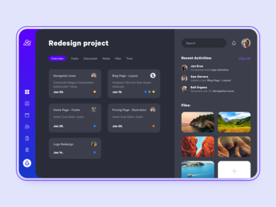 Project Management app - Dark theme