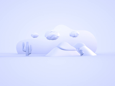 3D Illustration Empty State flat after effects animation clayrender clouds cactus tumbleweed octane cinema4d empty state 3d illustrator