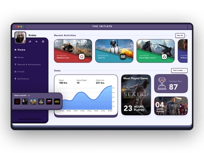Game Dashboard Design photoshop figma game dashboard ui app design