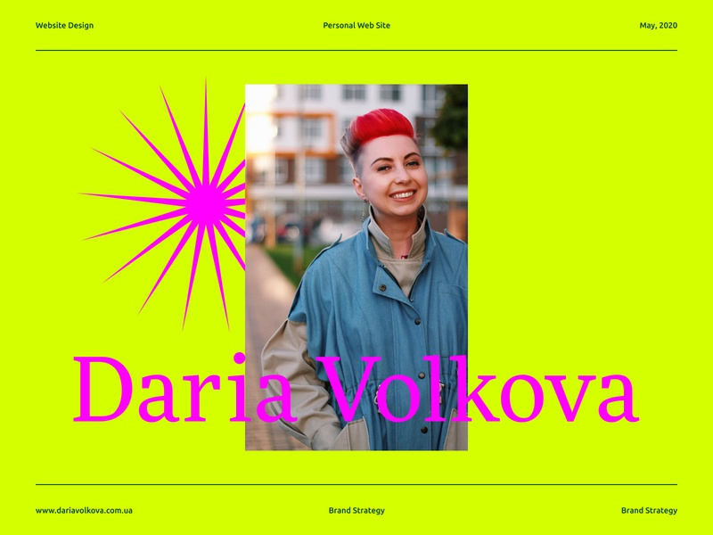 A personal website for Daria Volkova icon graphic design pink star portrait art color about page service brand strategist marketing ui ux promo landing site branding typography mobile product design web design website strategy