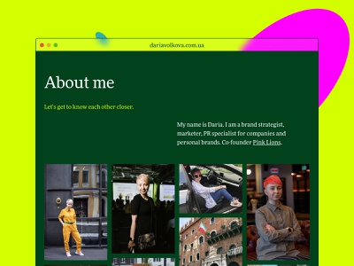 A personal website for Daria Volkova photo about me corporate website icon art color about page service brand strategist marketing ui ux promo landing site branding typography mobile product design web design website strategy