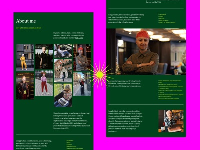 A personal website for Daria Volkova green color photo about me icon art color about page service brand strategist marketing ui ux promo landing site branding typography mobile product design web design website strategy