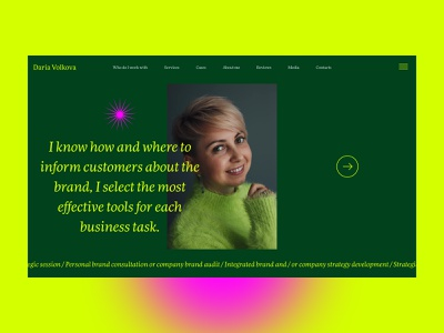 A personal website for Daria Volkova art gradient color portrait icon art color about page service brand strategist marketing ui ux promo landing site branding typography mobile product design web design website strategy