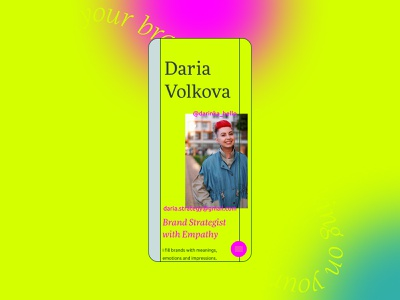 A personal website for Daria Volkova gradient menu responsive application mobile app icon art color about page service brand strategist marketing ui ux landing site branding typography mobile product design web design website strategy