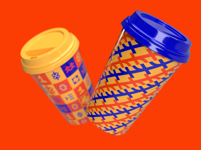 First Kyiv Courses   Rebranding a chain of schools tea coffee inspiration print cup grid symbol red and blue school and education pattern logo mark symbol icon number one first icon geometric lettering typography illustration graphic design custom logo design brandmark brand identity