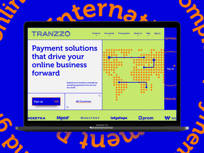 Tranzzo Payment System. Branding and Web Design Concept typography navigation web menu bar macbook world map desktop app sign up menu print and online brand identity graphic design pattern blue and green web mobile interaction business ui ux money transfer payment finance app typography logotype