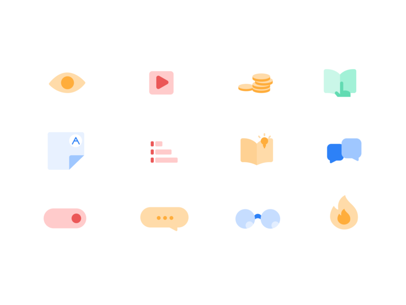 Unacademy Icons pastel ui kit uiux e learning education app education icons iconography