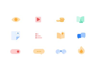 Unacademy Icons pastel ui kit uiux e learning education app education icons iconography