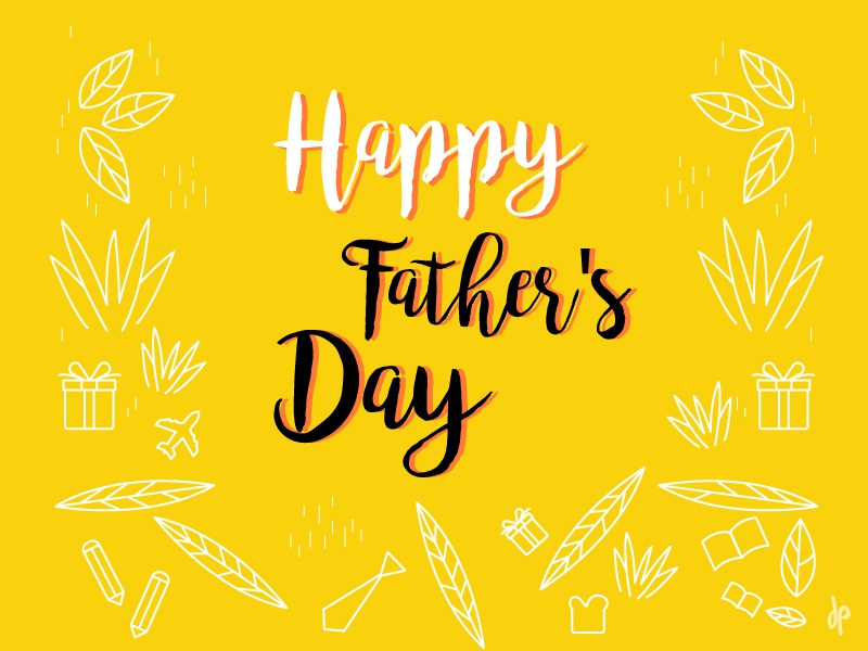 Father's  Day branding illustration character-design graphic-design fresh love colors day fathersday father yellow leaf