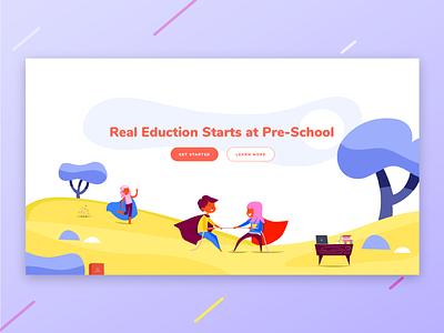 Education web design ux ui learning website sketch learn daycare education kids illustration