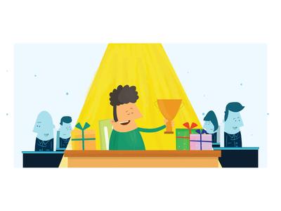 Winner Winner Chicken Dinner employee sketch learn work talent winner job office illustration