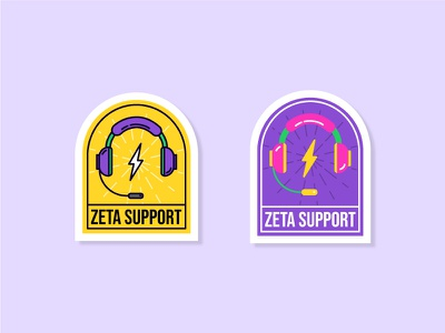 Zeta Support Stickers pop color sticker set sticker customer care customer support team illustration illustrator