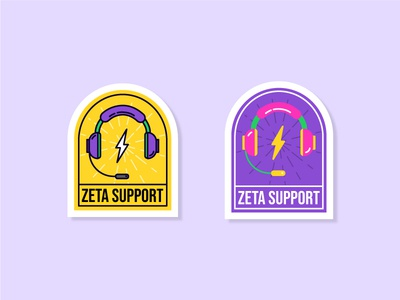 Zeta Support Stickers pop color sticker set sticker customer care customer support team illustration illustrator