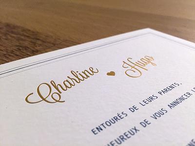 Charline ♥ Hugo Invitations print paper gold typography typo preppie prep preppy love logo wedding
