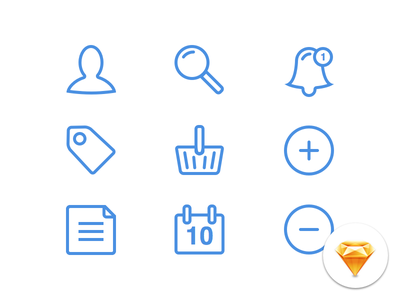 Morning UI #002 - Morning Icons button date calendar document add cart tag notification user search vector icons